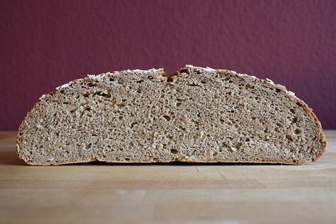 Etwas mehr Trieb wäre schön gewesen, um an Höhe und Porung zu gewinnen. Trotzdem ein sehr schmackhaftes Brot!