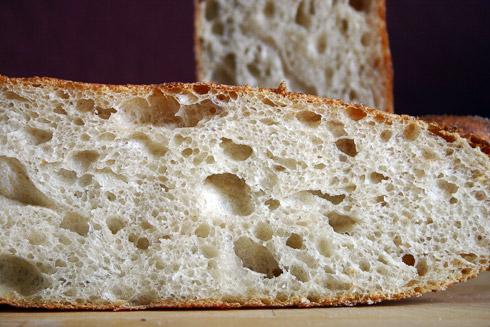 Ungleichmäßige, sehr weiche und elastische Krume mit mild-säuerlichem Duft: Baguette au Levain mit Poolish