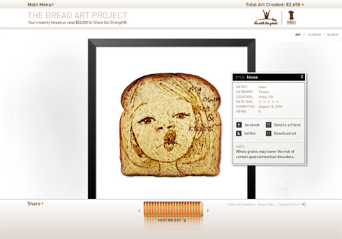 "Screenshot aus der Detailansicht der Galerie des ""Bread Art Project""."