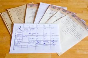 Der handschriftlich dahin geschmierte Backplan und die dazu passenden 7 Rezepte.