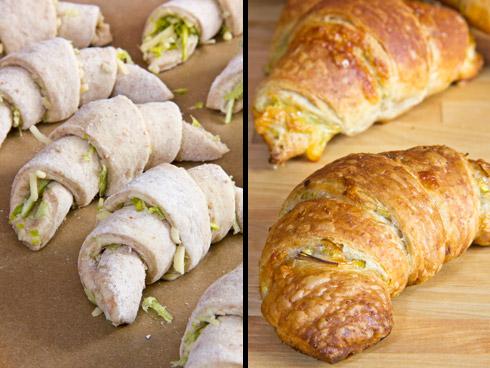 Porree-Käse-Croissants