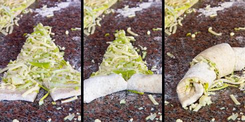 Bildanleitung zum Aufrollen der Porree-Käse-Croissants