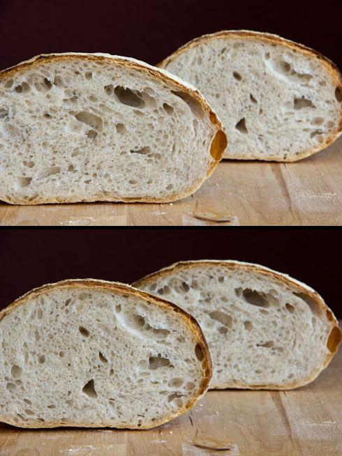 Oben im Vordergrund: das kaum gewirkte entgaste Brot. Unten im Vordergrund: das vor der Stückgare intensiv gewirkte Brot.