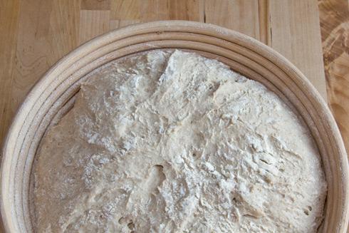 Der Teig nach der Stückgare, kurz vor dem Einschießen in den Ofen.