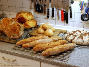 Die Ausbeute: hinten vlnr: Osterpinzen, Knauzenwecken, Sauerteigbrot; vorn vlnr: Gunnison River Bread, Baguettes (Foto von Petra Holzapfel).