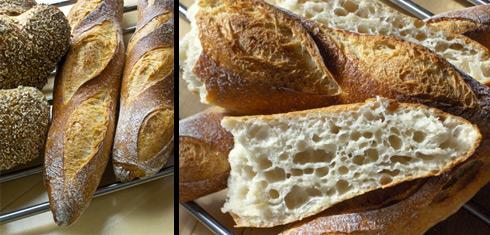 Baguettes, die ich mit Nina gebacken habe. Links sind die wirklich leckeren und einfach zu backenden Fünfkornlinge von Nina zu sehen. (Fotos von Nina Waterbör)