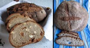 Links das Haselnuss-Feigen-Brot, das ich noch miterleben durfte, rechts das Miche, das erst ofenfertig war, als ich schon im Zug saß.