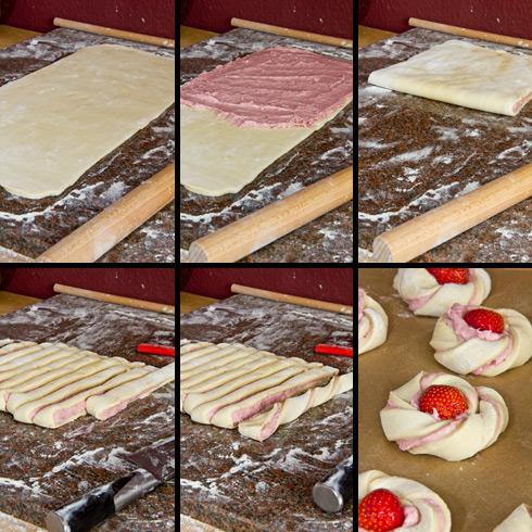 Bildanleitung zum Herstellen der Erdbeer-Mandel-Schnecken