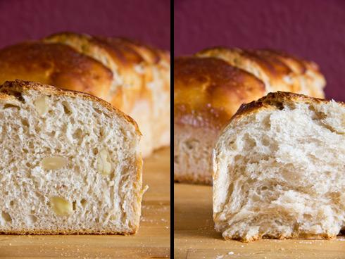 Auch als Kastenbrot macht das Weißbrot mit Joghurt und Mandeln/Haselnüssen etwas her.