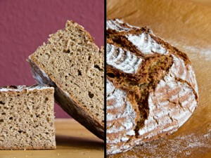 Kleinporige, kräftige Krume unter rustikaler Kruste: Quark-Hafer-Brot