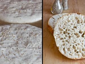 Links die Teiglinge vor dem Einschießen in den Ofen, rechts das fertige Fladenbrot: herrlich großporig, saftig und aromatisch: Türkisches Fladenbrot