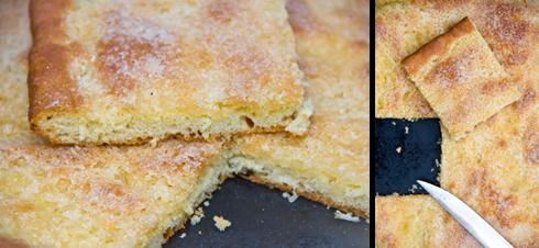 Der Sächsische Zuckerkuchen hat eine feinporige Krume und schmeckt nach einem Tag noch besser.