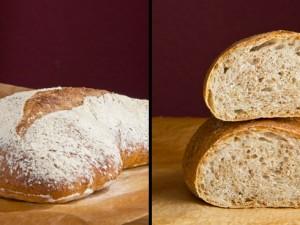 Der erste Versuch: durch den zu weichen Teig hatte das Brot keine Möglichkeit nach oben zu gehen...
