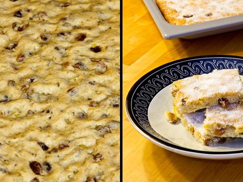 Links der Teig vor dem Backen, rechts der saftige und aromatische Kartoffelkuchen aus Stollenteig.