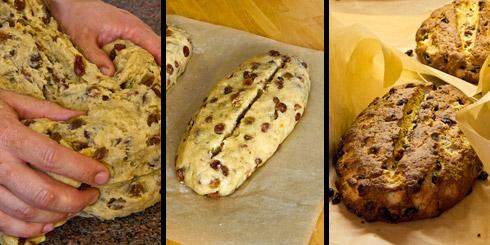 Nach dem Unterkneten aller Zutaten wird der Laib geformt, eingeschnitten, gebacken und gleich danach einmal gebuttert.
