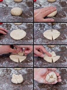 Bildanleitung zum Formen der Dinkelbrötchen