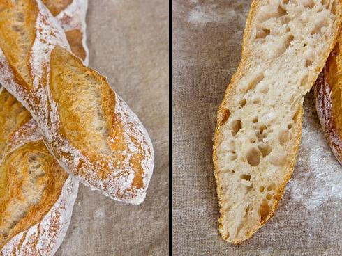 Herrlich aufgerissen, wunderbar mild-süßliches Aroma: französische Baguettes