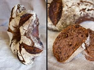 Süßlich-würzig dank getränkter Rosinen, Kakao und Sauerteig: das Weihnachtsbrot 2012