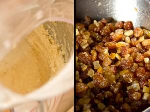 Der Hauptteig wird geknetet (links). Erst danach kommen stückige Zutaten wie die in Rum eingelegten Sultaninen und Orangeat/Zitronat hinzu.