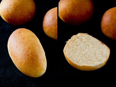 Feinporig und süßlich-mild im Geschmack: Hamburgerbrötchen / Hotdogbrötchen nach Peter Reinhart