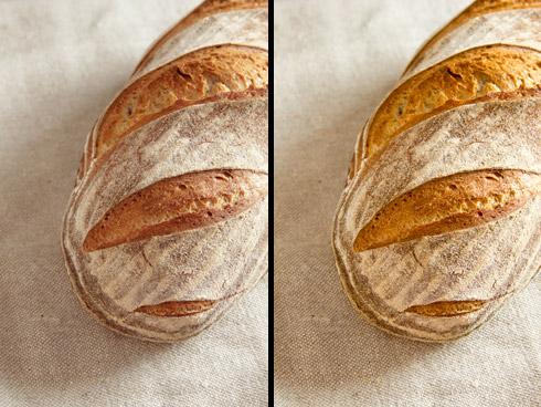 Mill Loaf vor und nach der sanften Bildnachbearbeitung