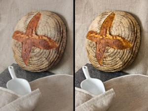 Weizenmischbrot mit Dinkel vor und nach der sanften Bildnachbearbeitung
