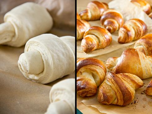 Der Croissant-Teig wird mit Horbacher 550er Weizenmehl dehnbarer als mit dem gleichen Mehl der Adler Mühle. Im Endergebnis sind beide Mehle nicht mehr zu unterscheiden.