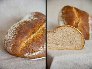 Der erste Versuch mit längerer Gare und flacherem Brotquerschnitt