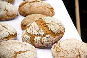 Und fertig sind die Brote (das Brot im Zentrum habe ich geformt).