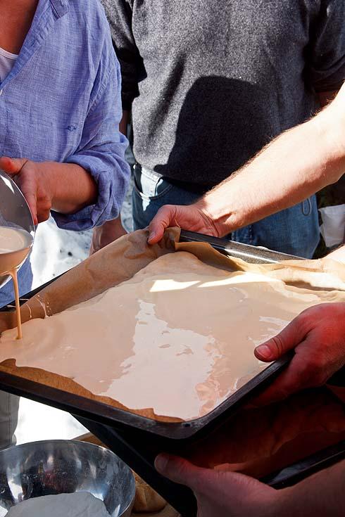 Spezieller Teilnehmerwunsch: Sauerteigkuchen mit Eierrahmschicht