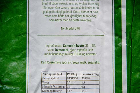 Typische Zutatenliste im heutigen norwegischen Brot.